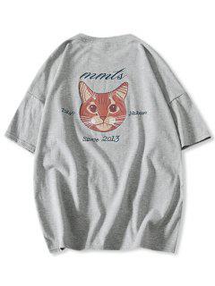 Cartoon Katze Buchstabe Druck Basik T-Shirt - Graue Wolke Xs