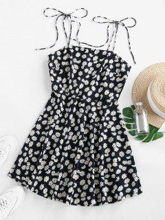 ZAFUL Ditsy Print Tie Shoulder Backless Mini Dress - Black Xl