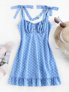 ZAFUL Mini Vestido Con Volantes Y Lunares - Azul Claro L