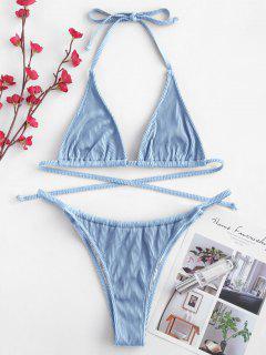 ZAFUL Textured Ribbed String Bikini Set - Silk Blue S