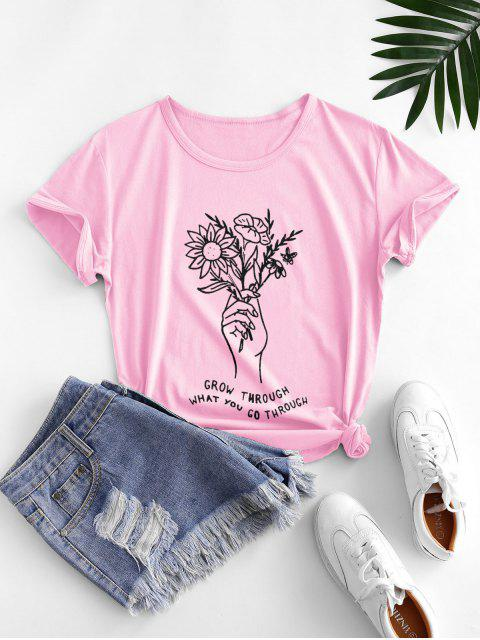 Millionen Blumen Gruß Grafisches Kurzes Hülsen T-Shirt - Rosa 2XL Mobile