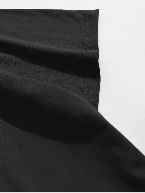 T-Shirt con Maniche Corte con Stampa Bandiera Americana - Nero XS Mobile