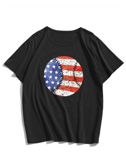 American Flag Round Graphic Lounge Short Sleeve Tee - أسود XS Mobile