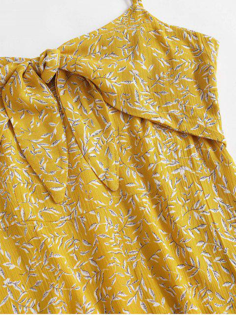 online Ditsy Leaf Knotted Cami Flounce Dress - YELLOW M Mobile