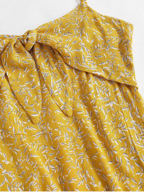 Robe Nouée Fleurie Feuille à Bretelle à Volants - Jaune S Mobile