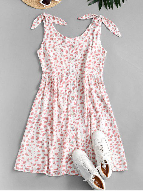 ladies Dalmatian Print Knot Shoulder Button Front Dress - PINK XL Mobile
