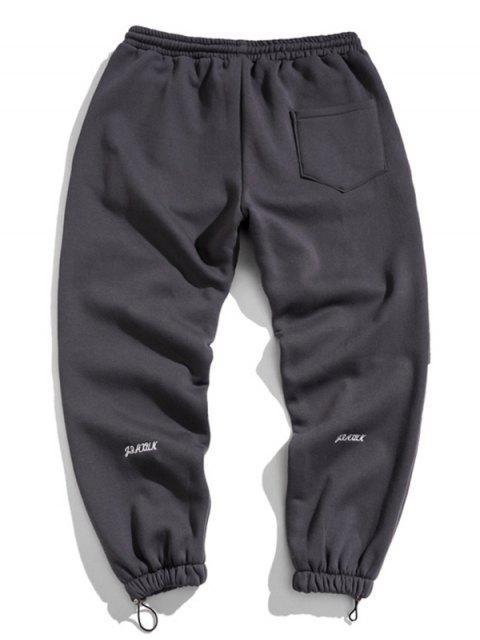 Jogger Pantalones con Diseño de Letras - Gris Oscuro 3XL Mobile