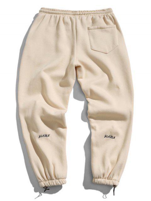 Jogger Pantalones con Diseño de Letras - Blanco Almendra 2XL Mobile