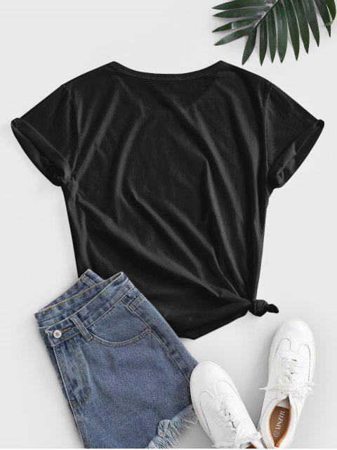 Geknotetes 3D Sonnenblumendruck Basik T-Shirt - Schwarz L Mobile