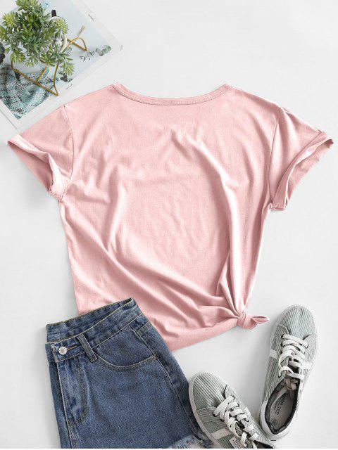 動物ヒョウ柄のリップグラフィック結び定番Tシャツ - ディープピーチ M Mobile