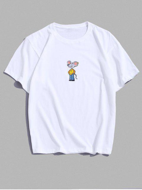 Maglietta a Maniche Corte con Stampa a Mouse Dei Cartoni Animati - Bianca 3XL Mobile