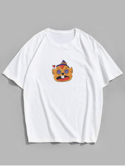 affordable Short Sleeves Cartoon Pattern Funny Tee - WHITE 2XL Mobile
