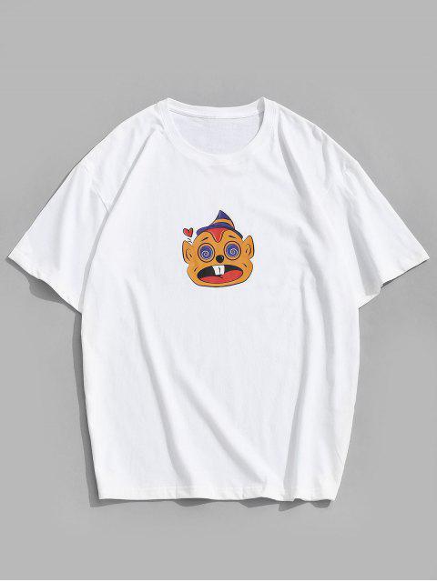 Short Sleeves Cartoon Pattern Funny Tee - أبيض 2XL Mobile