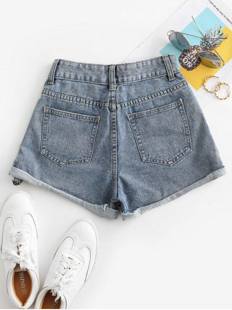 affordable Distressed Cuffed Jean Shorts - JEANS BLUE XL Mobile