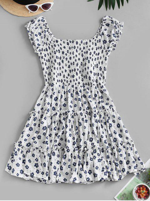 hot Ditsy Floral Flounce Smocked Back Milkmaid Dress - WHITE S Mobile