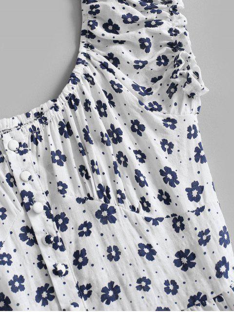 Robe de Laitière Fleurie Plissée au Dos à Volants - Blanc XL Mobile