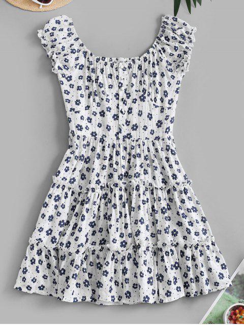 fashion Ditsy Floral Flounce Smocked Back Milkmaid Dress - WHITE L Mobile