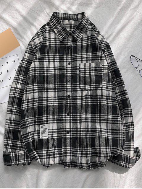 shop Plaid Printing Pocket Long-sleeved Shirt - BLACK S Mobile