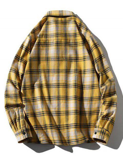 Plaid Printing Pocket Long-sleeved Shirt - الأصفر XL Mobile