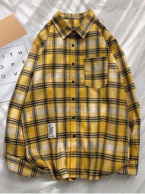 Chemise à Carreaux Imprimée à Manches Longues avec Poche - Jaune XL Mobile
