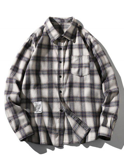 women Plaid Letter Pattern Long Sleeves Shirt - WOOD M Mobile