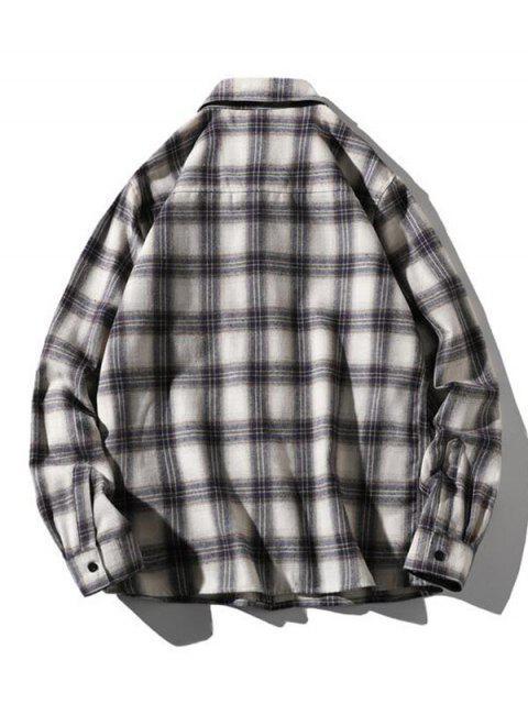 Camisa de Manga Larga a Cuadros Estampado Letra - Madera L Mobile