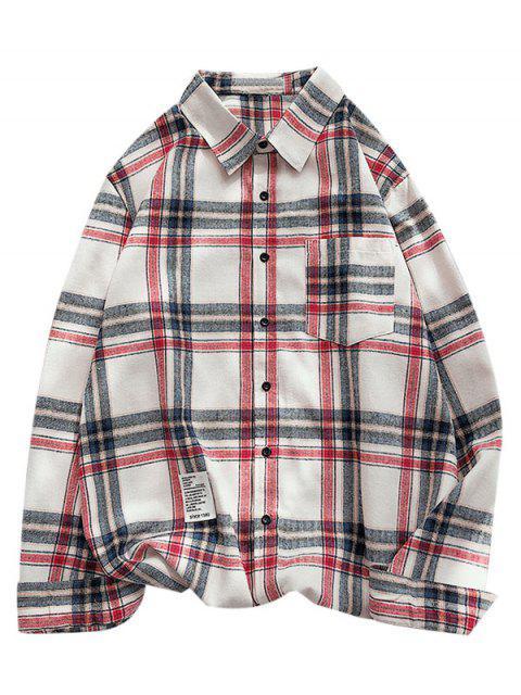 チェック柄の文字パターンの長袖シャツ - カデブルー L Mobile