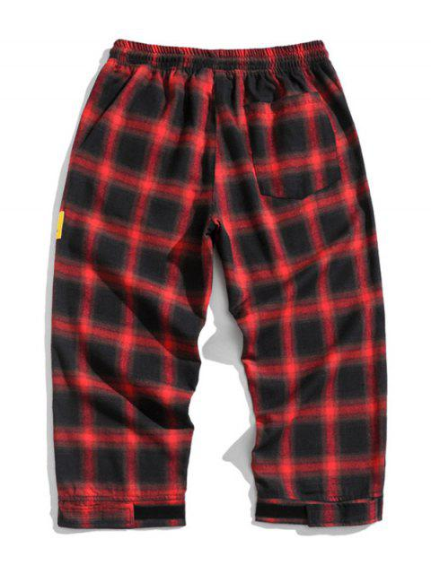 unique Drawstring Plaid Cropped Pants - RED M Mobile