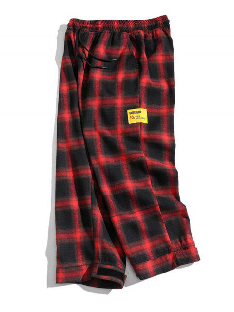 sale Drawstring Plaid Cropped Pants - RED L Mobile