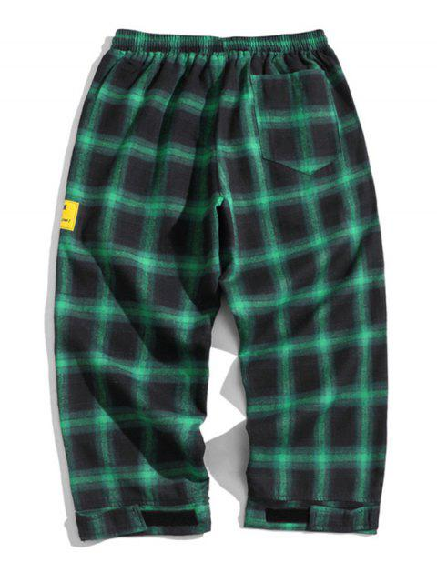 new Drawstring Plaid Cropped Pants - DEEP GREEN L Mobile