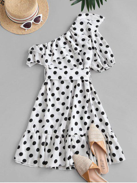 chic One Shoulder Polka Dot Flounce Belted Dress - WHITE L Mobile