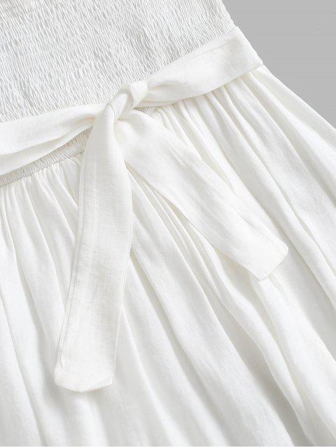 fancy Pompom Trim Smocked Layered Bandeau Romper - WHITE S Mobile