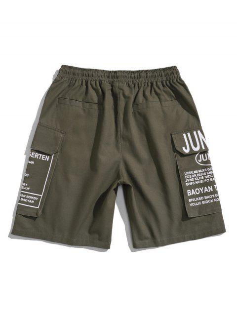 trendy Letter Print Cargo Shorts - CAMOUFLAGE GREEN 3XL Mobile