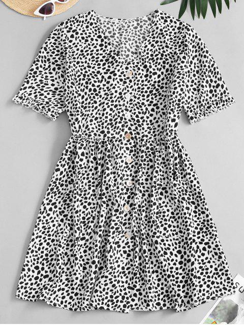 shop Leopard Button Up Pocket Smock Dress - BLACK S Mobile