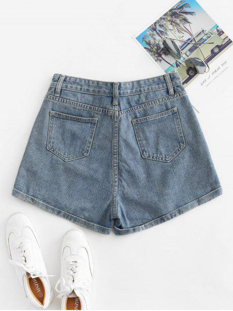 outfits Cuffed High Waisted Jean Shorts - LIGHT BLUE M Mobile