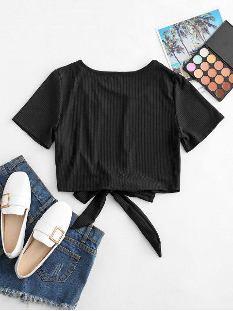 best Plunge Ribbed Tie Crop Top - BLACK L Mobile