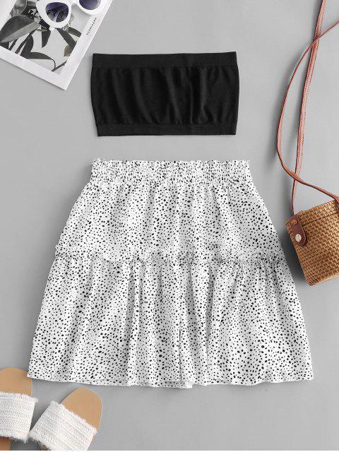 lady Plain Bandeau Top And Dalmatian Dot Skirt Set - WHITE M Mobile