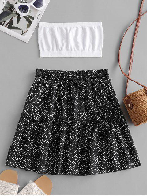 Plain Bandeau Top And Dalmatian Dot Skirt Set - أسود S Mobile