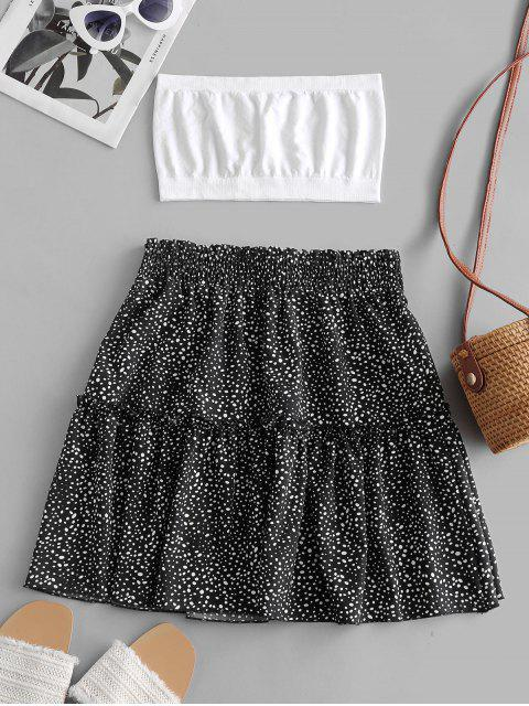 women Plain Bandeau Top And Dalmatian Dot Skirt Set - BLACK L Mobile