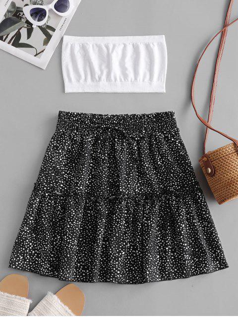 women's Plain Bandeau Top And Dalmatian Dot Skirt Set - BLACK XL Mobile