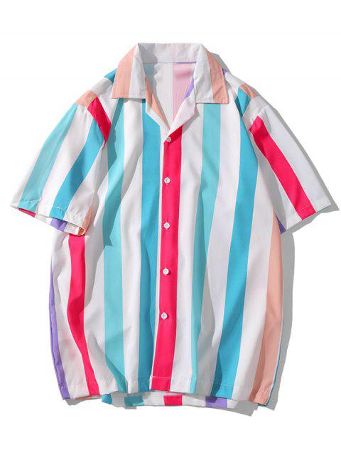 ladies Colorful Striped Printed Short Sleeves Shirt - MULTI-A S Mobile