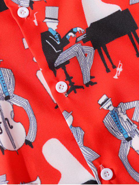 women Music Instrument Character Printed Shirt - RED M Mobile