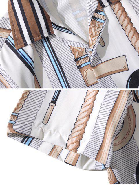 best Stick Printed Short Sleeves Shirt - LIGHT GRAY S Mobile