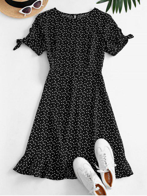 women's Ditsy Hearts Flounce Tie Sleeve Keyhole Dress - BLACK S Mobile
