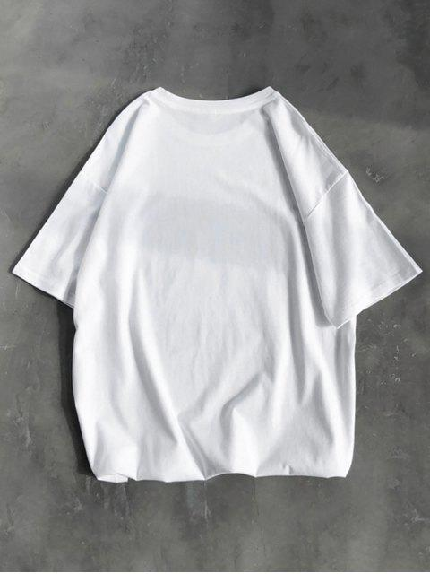 T-Shirt Basic con Grafica di Caratteri Cinesi - Bianca S Mobile