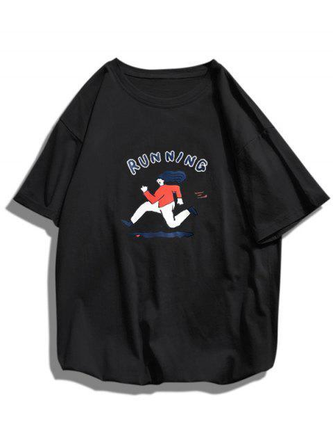 womens Running Character Graphic Basic T-shirt - BLACK XS Mobile