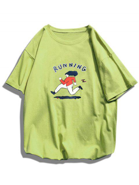new Running Character Graphic Basic T-shirt - GREEN L Mobile