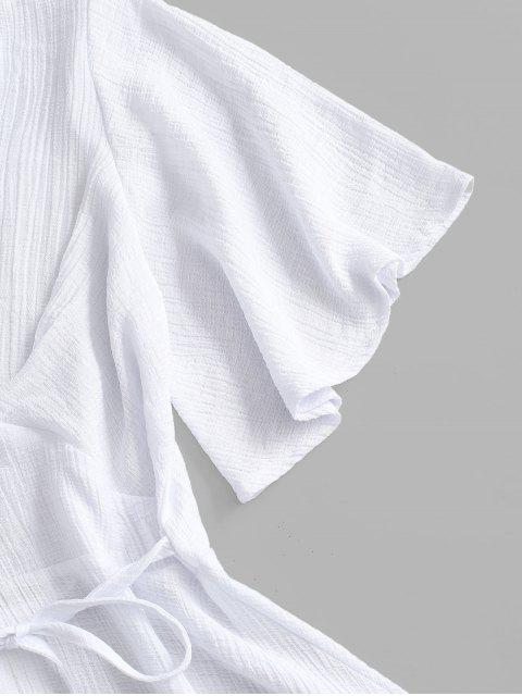 best Plunging Open Back Tie Textured Dress - WHITE M Mobile