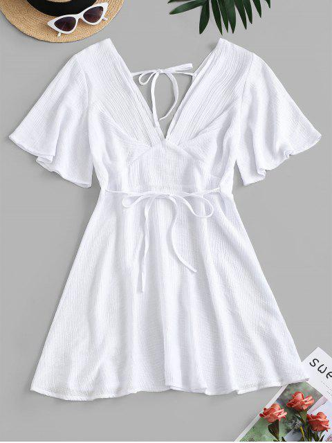 unique Plunging Open Back Tie Textured Dress - WHITE XL Mobile