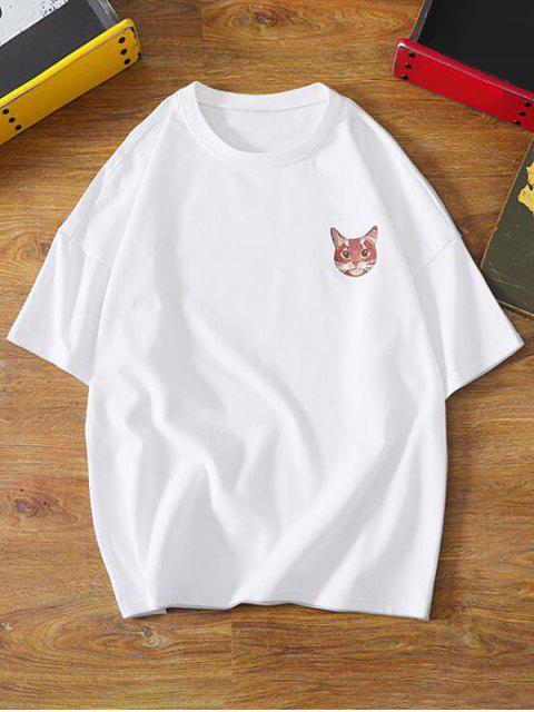 Cartoon Cat Letter Print Basic T-shirt - أبيض XS Mobile